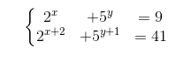 sistemas de ecuaciones exponenciales