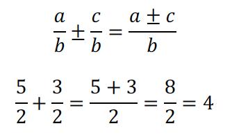 Suma y diferencia de fracciones