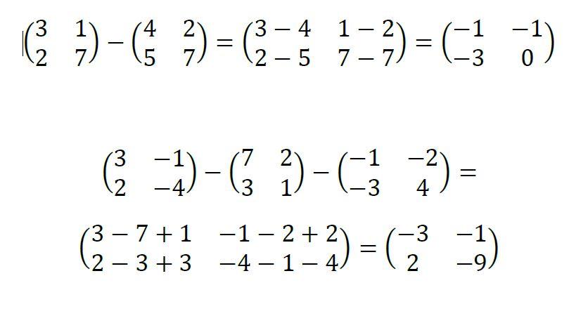 suma y resta de matrices