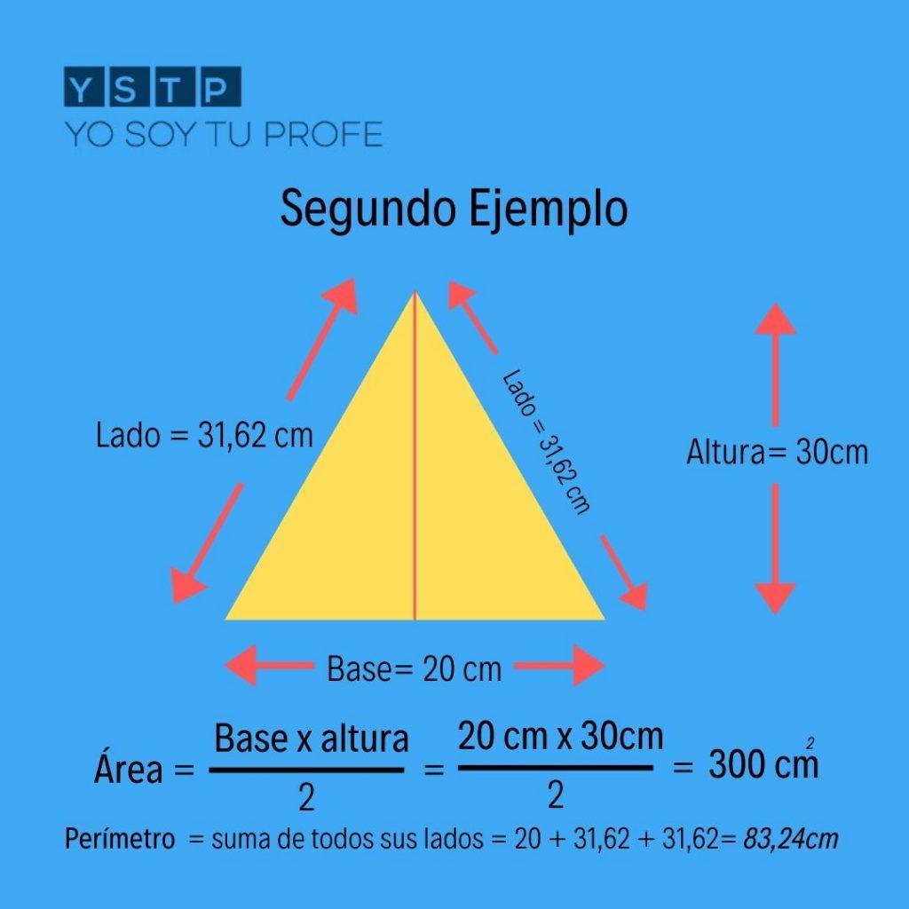 área y perímetro del  triangulo
